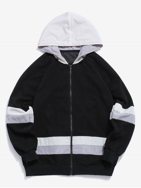affordable ZAFUL Colorblock Spliced Raglan Sleeve Hooded Jacket - MULTI M Mobile