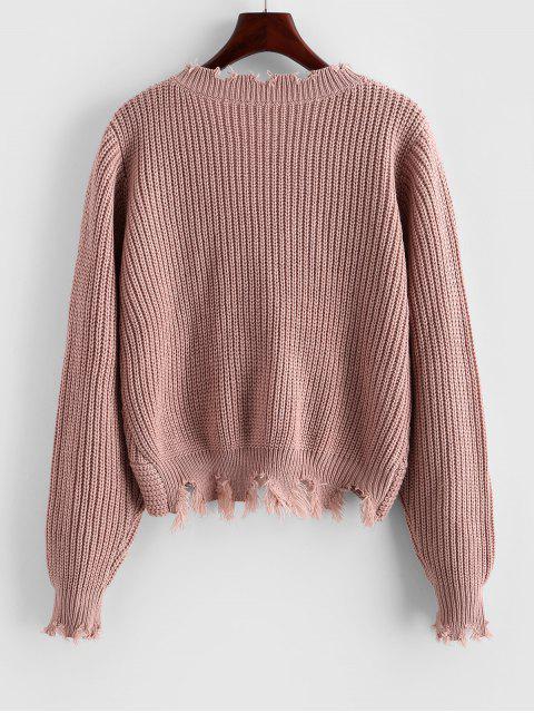 womens ZAFUL Frayed Twisted Short Sweater - KHAKI ROSE S Mobile