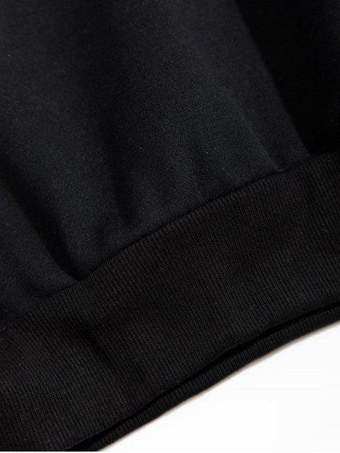Colorblock拼布信插肩袖抓絨帽衫 - 黑色 4XL Mobile