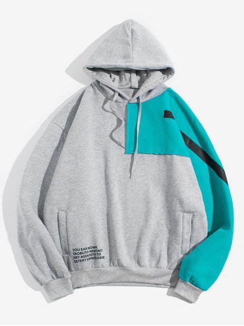 Colorblock拼布信插肩袖抓絨帽衫 - 灰色 L Mobile