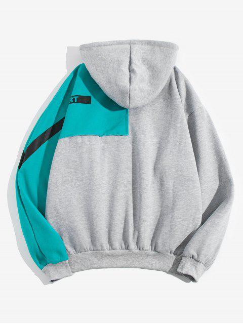 Colorblock拼布信插肩袖抓絨帽衫 - 灰色 2XL Mobile