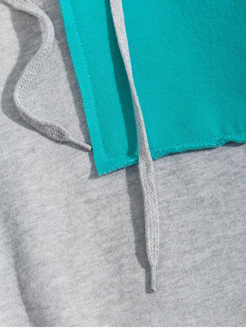 Colorblock拼布信插肩袖抓絨帽衫 - 灰色 4XL Mobile