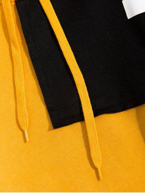 Farbblock Patchwork Buchstabe Raglan Ärmel Vlies Hoodie - Gelb 4XL Mobile