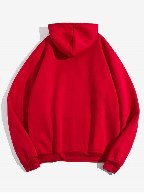 固信袋鼠口袋抽繩毛絨連帽外套 - 紅 L Mobile