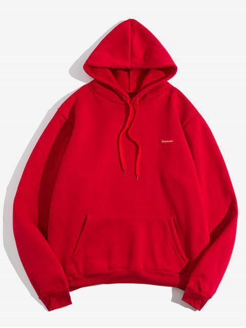 固信袋鼠口袋抽繩毛絨連帽外套 - 紅 XL Mobile