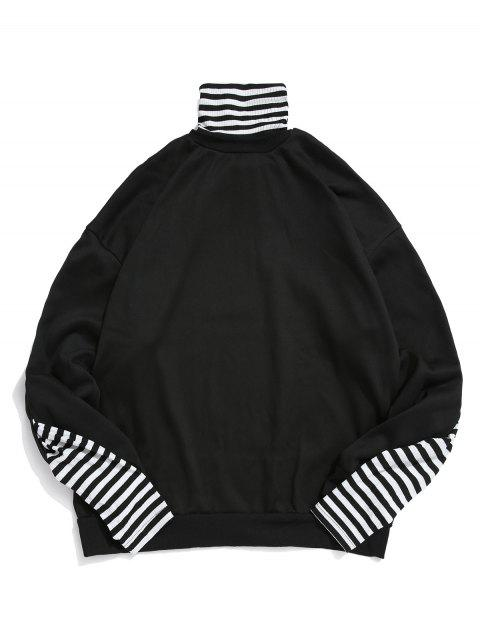 affordable Faux Two Pieces Striped Pattern Sweatshirt - BLACK M Mobile