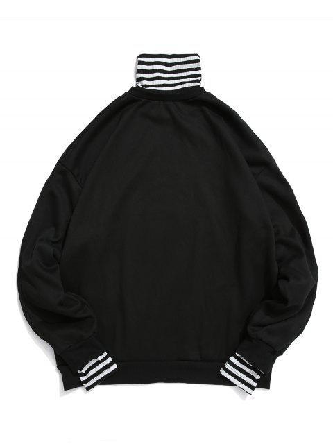 Faux Zweiteiliger Gestreiftes Muster Sweatshirt - Schwarz 2XL Mobile