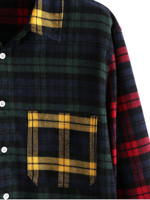 ZAFUL Plaid-Muster Colorblock Langarmhemd - Multi XL Mobile