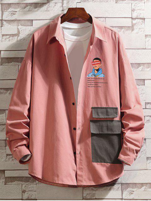 字母字符,打印Colorblock口袋襯衫 - 粉 3XL Mobile