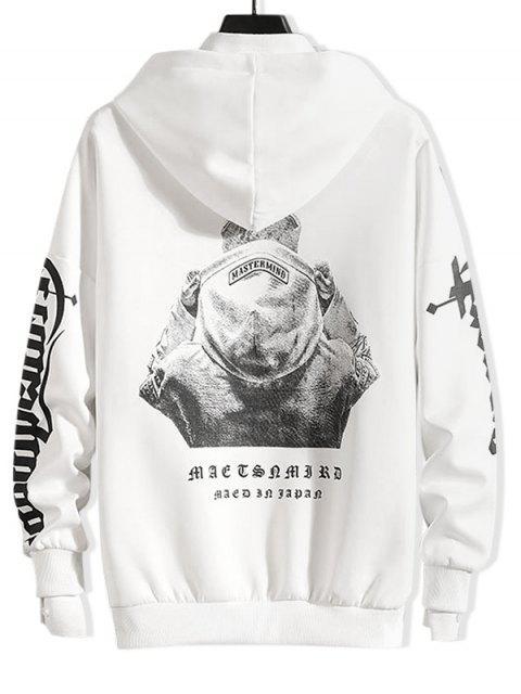 漢字字母打印液滴肩抽繩連帽外套 - 白色 XL Mobile