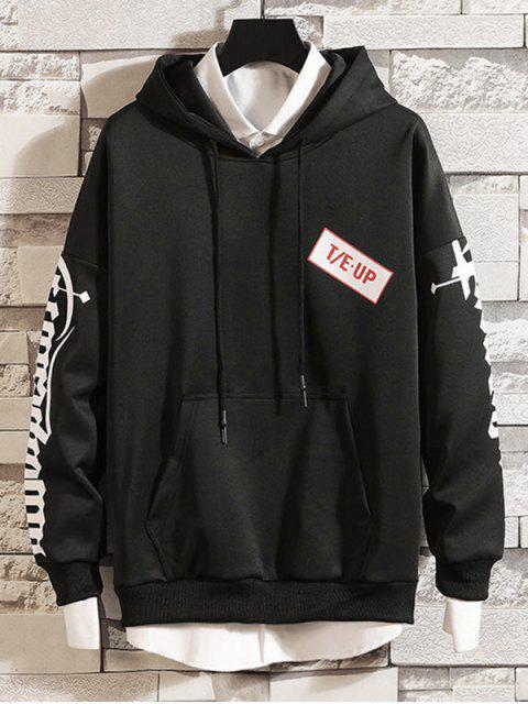 漢字字母打印液滴肩抽繩連帽外套 - 黑色 3XL Mobile