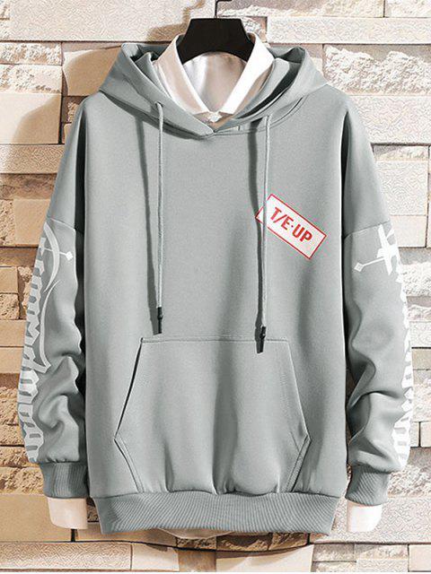 漢字字母打印液滴肩抽繩連帽外套 - 灰色 2XL Mobile
