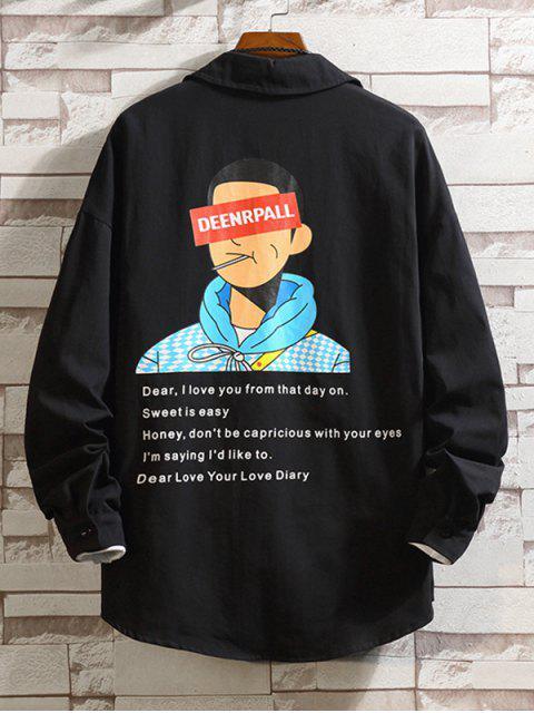 Buchstabe Charakter Druck Farbblock Taschen Shirt - Schwarz XL Mobile