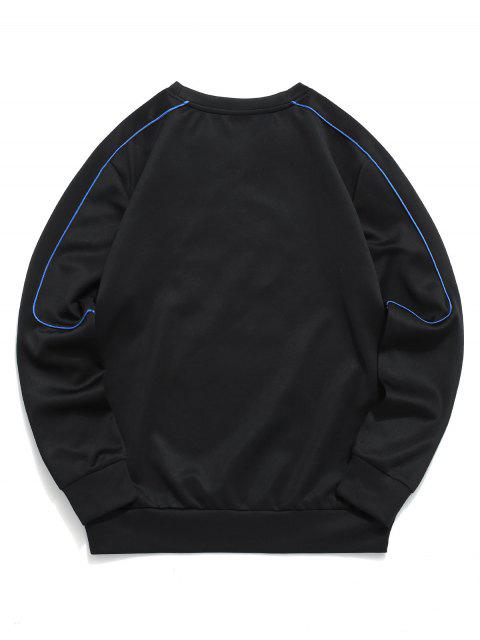 shops ZAFUL Casual Graphic Letter Embroidered Sweatshirt - BLACK XL Mobile