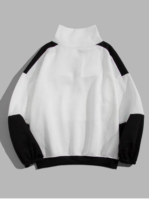 信打印Colorblock落肩運動衫 - 白色 L Mobile