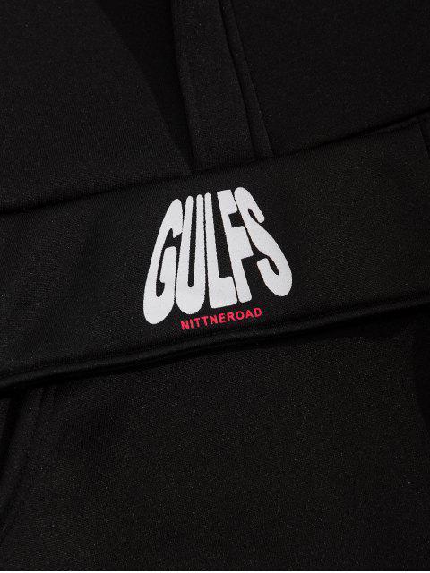 Buchstabedruck Farbblock Fallschulter Sweatshirt - Schwarz L Mobile
