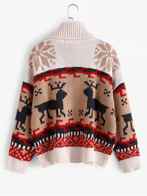 Weihnachts Pullover mit Elch Schneeflocke Grafik und Rollkragen - Multi-A Eine Größe Mobile