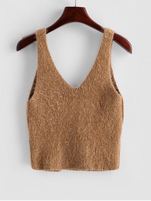 雲集模糊作物毛衣背心 - 駱駝棕色 L Mobile