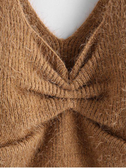 online Gathered Fuzzy Crop Sweater Vest - CAMEL BROWN L Mobile