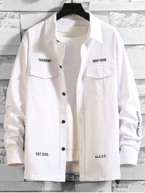 字母刺繡翼口袋衫鈕 - 白色 2XL Mobile