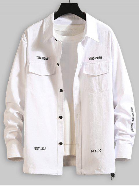 Buchstabe Stickerei Klappe Tasche Shirt - Weiß 4XL Mobile