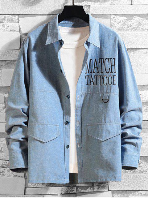 信男人本色打印長袖襯衫扣 - 牛仔布藍色 4XL Mobile