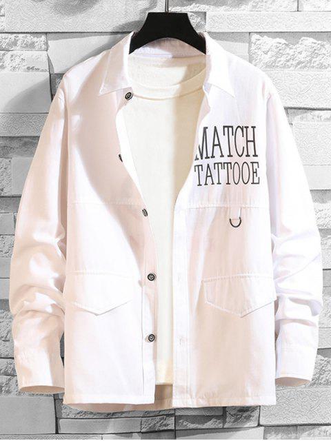 信男人本色打印長袖襯衫扣 - 白色 L Mobile