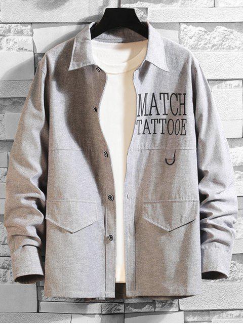 Buchstabe Männer Charakter Druck Langarm Knopf Hemd - Grau XL  Mobile