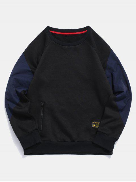 ZAFUL Colour Blocking Beiläufiges Sweatshirt - Schwarz 2XL Mobile