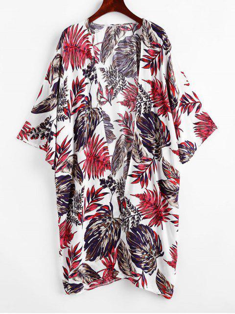 ZAFUL Robe Couverture Feuille Imprimée à Goutte Epaule Sans Col - Multi-A Taille Unique Mobile