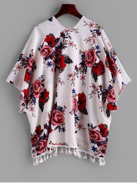 ladies ZAFUL Tassel Flower Print Open Batwing Cover Up - MULTI-A M Mobile