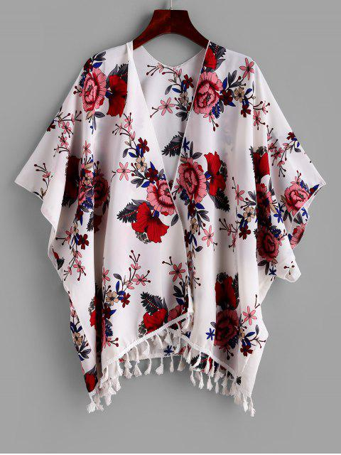 lady ZAFUL Tassel Flower Print Open Batwing Cover Up - MULTI-A L Mobile