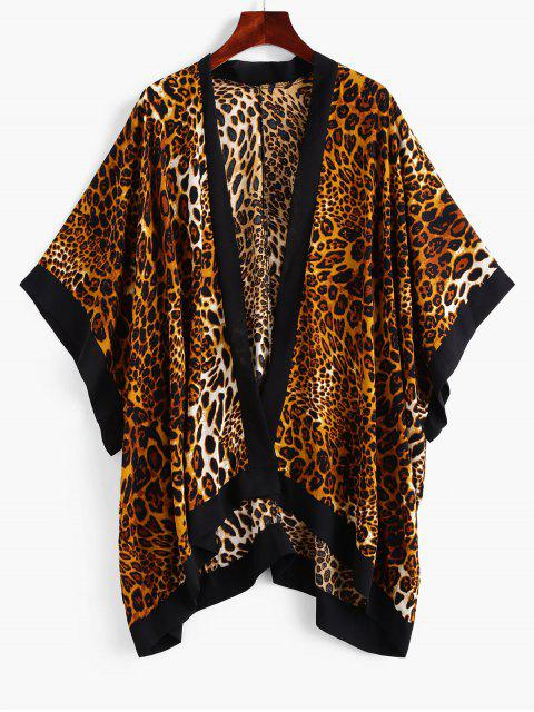 best ZAFUL Leopard Batwing Sleeve Contrast Trim Cover Up - LEOPARD ONE SIZE Mobile