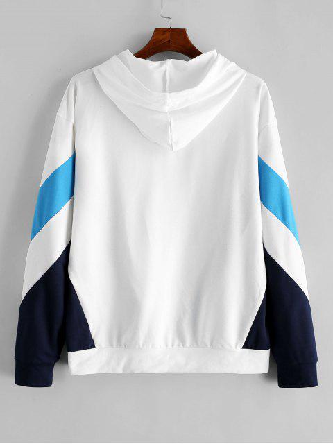 ZAFUL Farbe Spliced Letter-Muster Freizeit Hoodie - Weiß 2XL Mobile