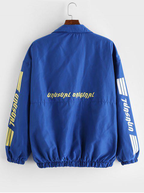 不尋常的圖形跌落肩休閒夾克 - 藍色 L Mobile