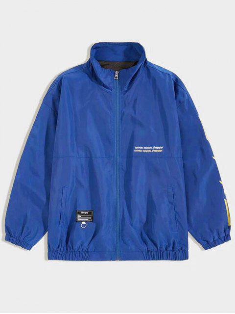 不尋常的圖形跌落肩休閒夾克 - 藍色 2XL Mobile