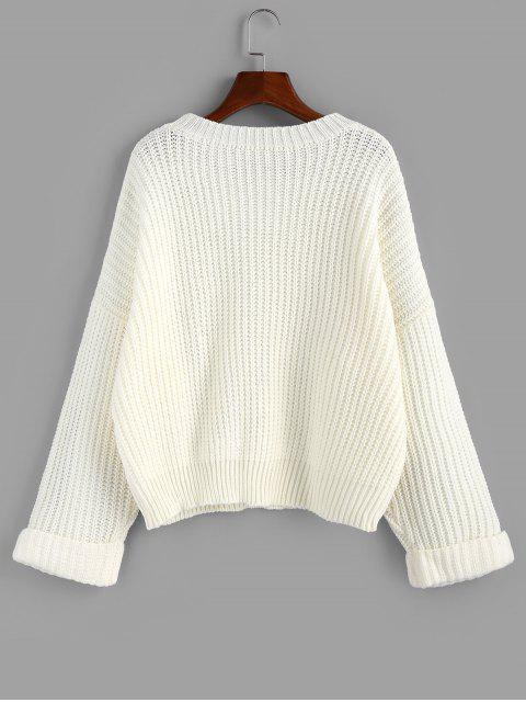 womens ZAFUL Cuffed Sleeve Drop Shoulder Textured Sweater - WHITE S Mobile