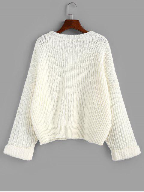 ZAFUL Kaltschulter Ärmel Strukturierter Pullover - Weiß M Mobile