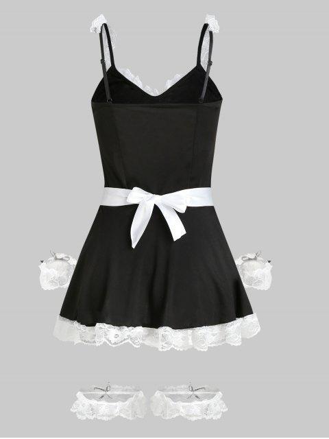 Maid Haarband Kostüm mit Schnürsenkel und Spitzedetail - Schwarz Eine Größe Mobile