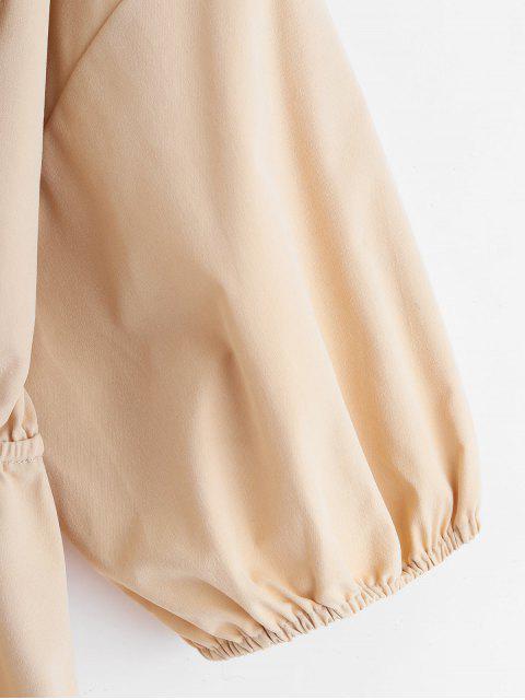shop ZAFUL Half Button Drop Shoulder Bowknot Dress - LIGHT KHAKI M Mobile