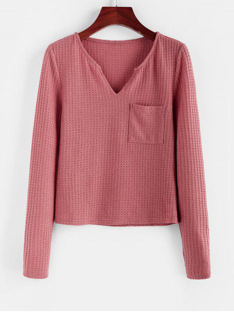 sale ZAFUL V Neck Pocket Knitted T Shirt - LIPSTICK PINK XL Mobile