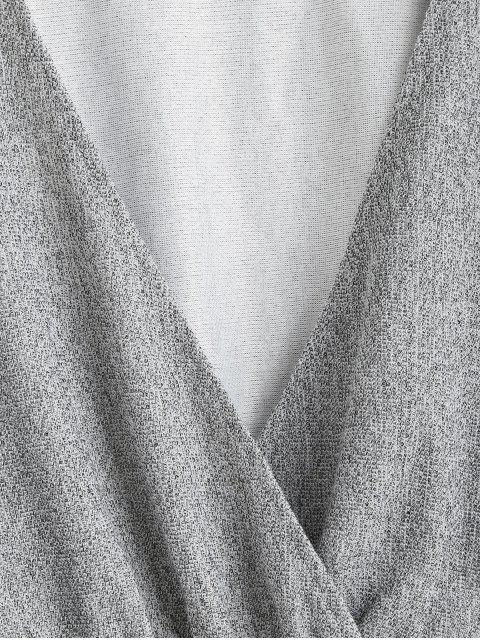 women's ZAFUL Heathered Knit Dolman Crop Top - LIGHT GRAY L Mobile