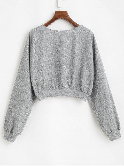 new ZAFUL Heathered Knit Dolman Crop Top - LIGHT GRAY XL Mobile