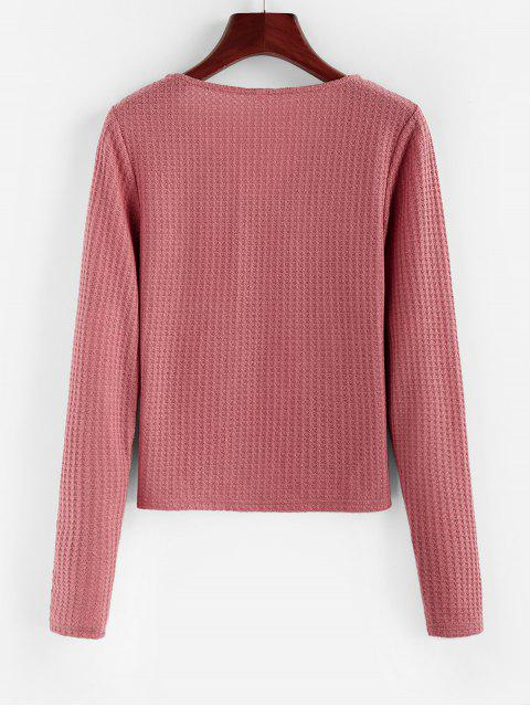 chic ZAFUL V Neck Pocket Knitted T Shirt - LIPSTICK PINK S Mobile