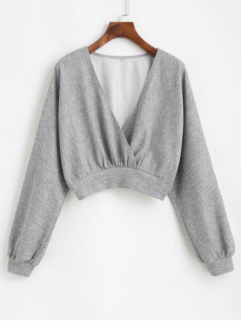 affordable ZAFUL Heathered Knit Dolman Crop Top - LIGHT GRAY S Mobile