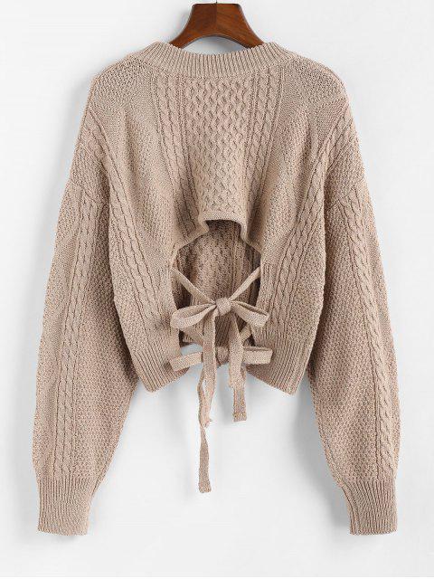 ladies ZAFUL X Luna Montana Plunging Cutout Tie Back Crop Sweater - KHAKI S Mobile