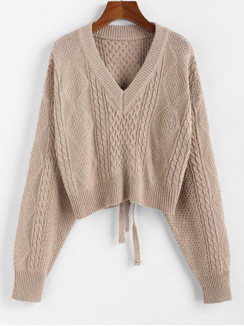 lady ZAFUL X Luna Montana Plunging Cutout Tie Back Crop Sweater - KHAKI L Mobile