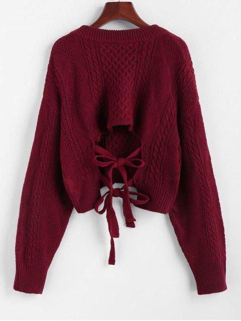 online ZAFUL X Luna Montana Plunging Cutout Tie Back Crop Sweater - RED WINE L Mobile