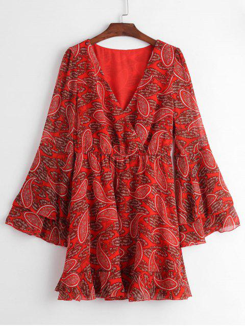 online ZAFUL Paisley Print Bell Sleeve Flounce Hem Surplice Dress - RED XL Mobile