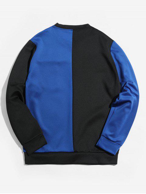 雙色信翼口袋拼接外套 - 藍色 M Mobile